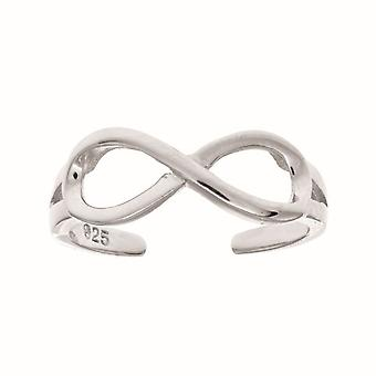 925 Sterling Silver With Rhodium Finish Shiny Infinity Top Fancy Toe Ring Jewelry Gifts for Women