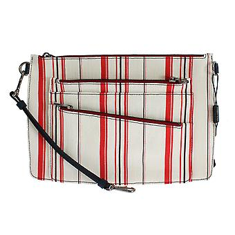 Dolce & Gabbana White Red Striped Linen Cosmetic Bag