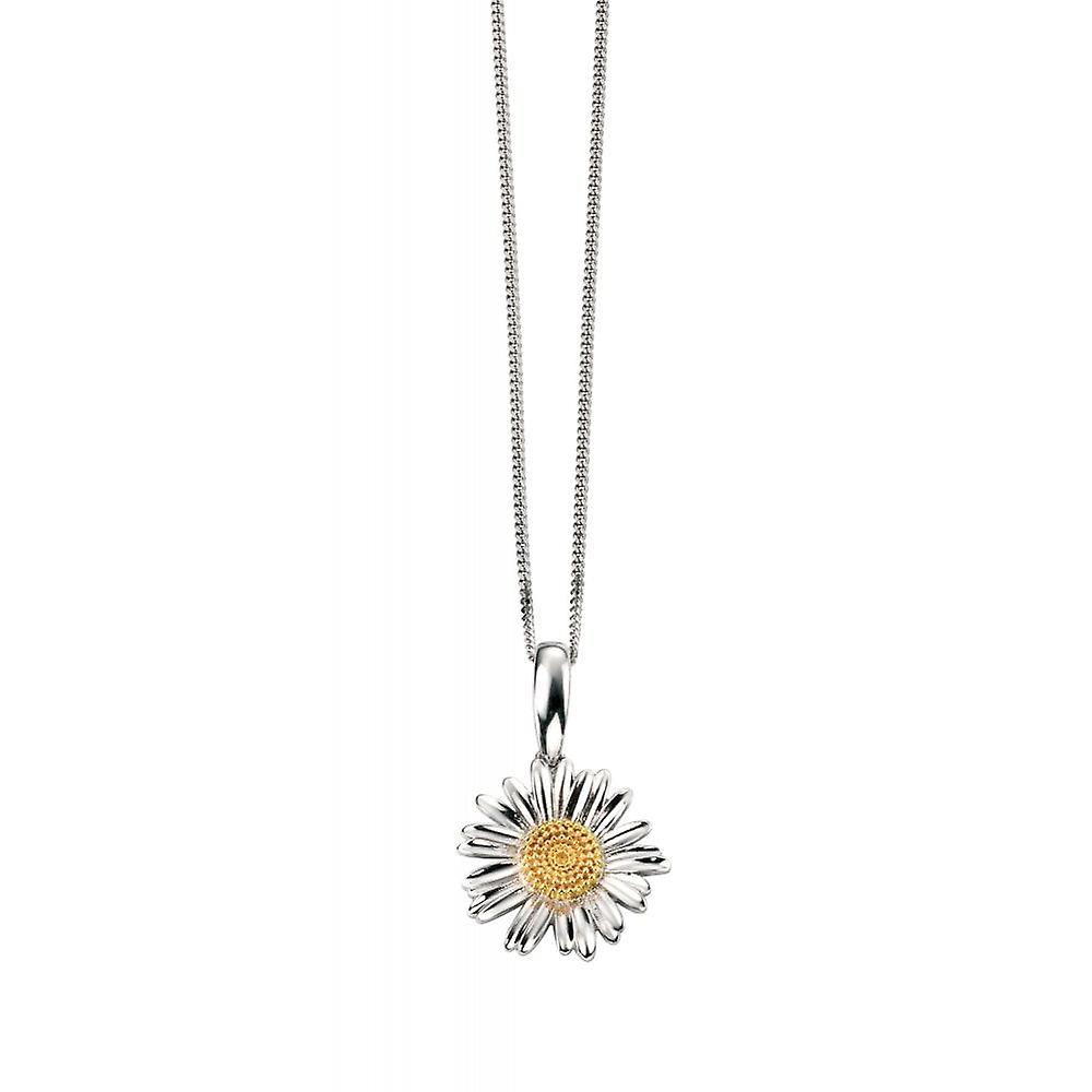 Joshua James Serenity Silver & Yellow Gold Plated Daisy Pendant