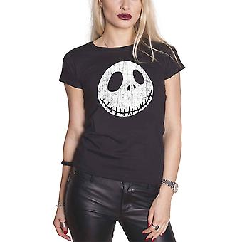 The Nightmare Before Christmas T Shirt Cracked Face Official Womens Skinny Fit