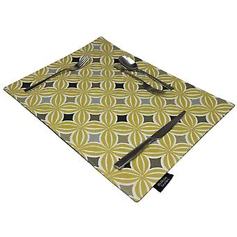 Mcalister textiles laila ochre yellow table placemat sets