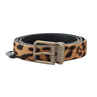 Dolce & Gabbana Brown Leopard læder kalv pels bælte