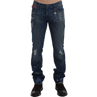 Costume National Blue Wash Paint Slim Fit Pants Jeans