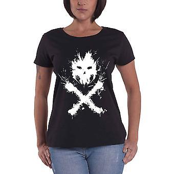 Official Womens Black Punisher T Shirt Crossbones Logo New Marvel Skinny Fit