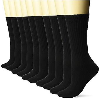 Amazon Essentials Women's 10-Pack Cotton Lightly Cushioned Crew, Black, Size 6.0