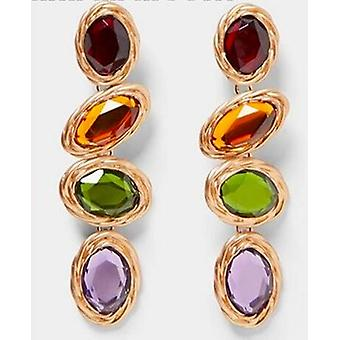 Dangling earrings with colored stones