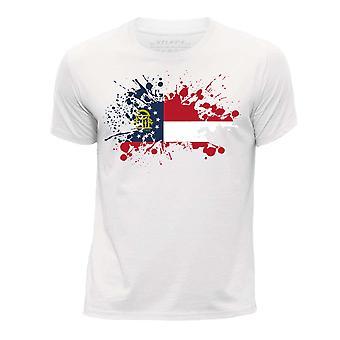 STUFF4 Pojan Pyöreä kaula T-paita / / Georgia USA-osavaltion lippu Splat/valkoinen