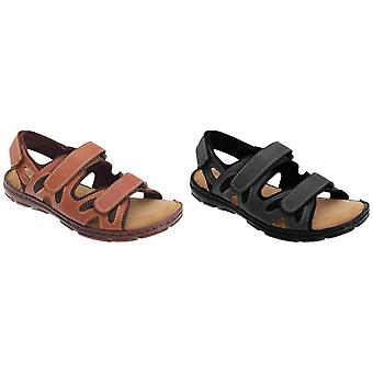 Roamers Mens 3 Touch Fastening Adjustable Comfort Leather Sandals