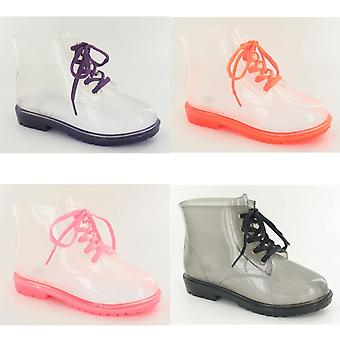 Spot On Childrens Girls Transparent Lace Up Jelly Boots