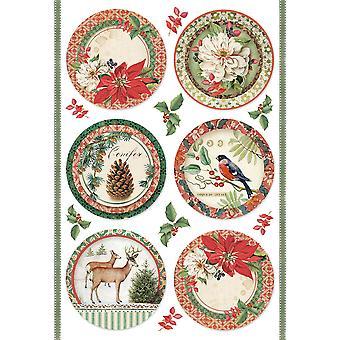 Stamperia Reispapier Blatt A4-Winter botanischen Sphären