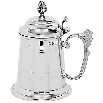 Mountbatten Lion Handle Extra Heavy Pewter Tankard with Lid - 1 Pint +