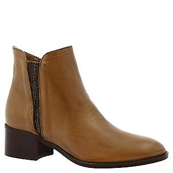 ليوناردو أحذية النساء & أبوس؛s اليدوية أحذية الكاحل الكعب المنخفض البيج العجل الجلد الرمز البريدي