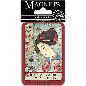 Stamperia Geisha 8x5.5cm magneetti