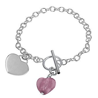 Toc Sterling Silber Armband mit Mauve Murano Herz Charme & T-Bar 8,5 Gramm 7,2 Zoll in der Länge
