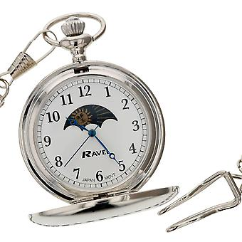 "Ravel Gents Pocket Watch Silver Tone Sun-Moon White Dial  12"" Chain R1001.14"