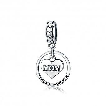 Sterling Silver Pendant Charm Mom I Love You Forever - 5595