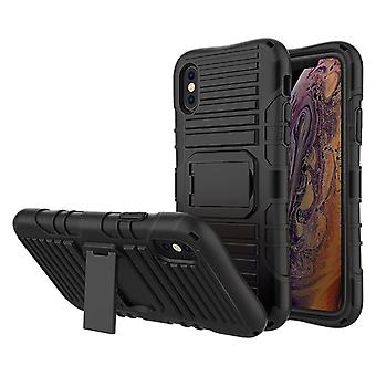 Cadorabo Case for Apple iPhone X / XS in BLACK - Phone Case with Stand Function - Hard Case TPU Silicone Protective Case for Hybrid Cover in Outdoor Heavy Duty Design