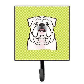 Checkerboard Lime Green White English Bulldog  Leash or Key Holder