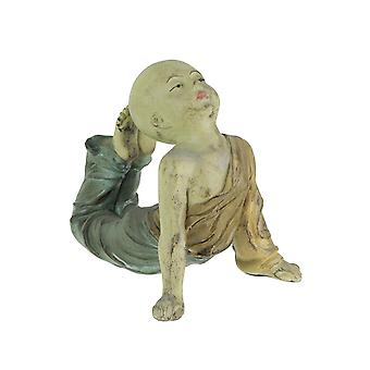 Beautiful Aged Finish Child Monk Yoga Bow Pose Statue 8,5 Inches High