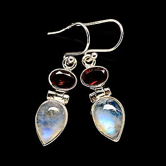 Rainbow Moonstone, Blue Topaz Earrings 1 1/2