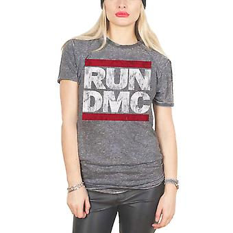 Run DMC T Shirt Classic Band Logo Official Womens New Grey Skinny Fit Burnout