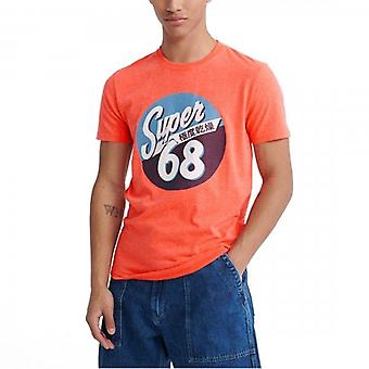 Superdry Motor Print T-Shirt Coral Pink T7G