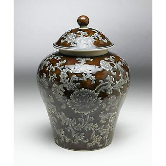AA Importing 59738 14 Inch Brown & Grey Ginger Jar