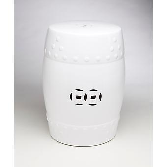 AA Importing 59852-WH White Finish Ceramic Garden Stool