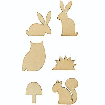 6 Small Forest Animal Wooden Shapes for Crafts