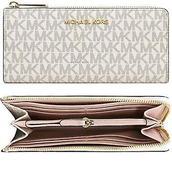 Michael kors jet set travel large quater 3/4 zip around wallet vanilla mk pink