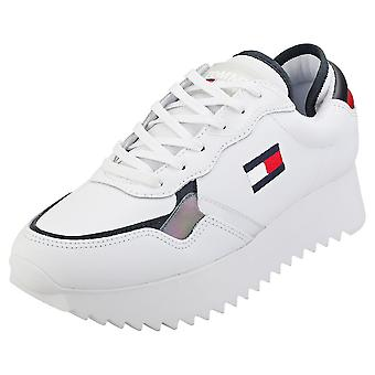 Tommy Jeans High Cleated Sneaker Womens Fashion Trainers in White Navy Red