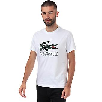 Men's Lacoste Big Croc Printed Logo T-Shirt in White