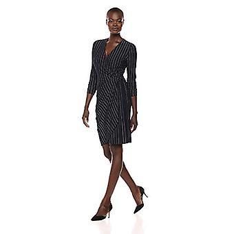 Brand - Lark & Ro Women's Classic Long Sleeve Wrap Dress, Navy Pinstri...