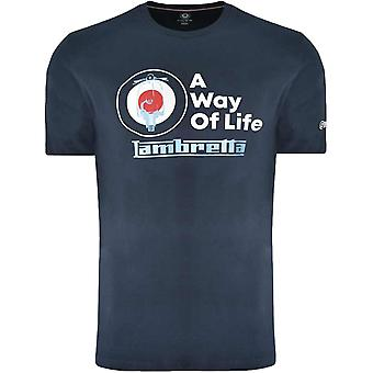Lambretta Mens Target Graphic Casual Crew Neck Cotton T-Shirt Top Tee - Navy