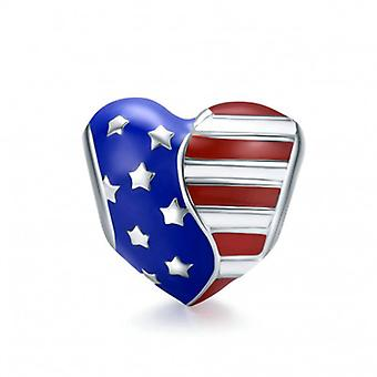 Sterling Silver Charm American Flag - 6761