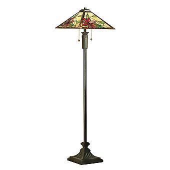 2 Lampe de plancher claire bronze foncé, verre Tiffany, E27