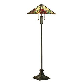 Interieurs Lelani - 2 Light Floor Lamp Dark Bronze, Tiffany Glass, E27