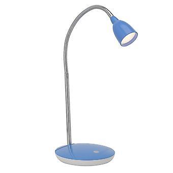 Luz BRILLANTE Anthony Lámpara de Mesa LED Hierro/Azul ? 1x 2.4W LED integrado, (200lm, 3000K) Escalar A++ a E ? Con interruptor de presión