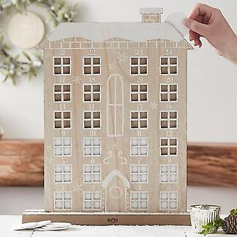 Wooden Drop Reuseable Advent Calendar House