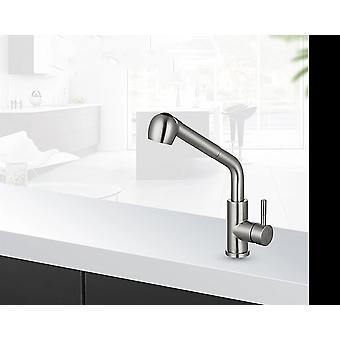 Brushed Nickel Kitchen Faucets, Single Hole 360-degree Swivel For Kitchen Sink