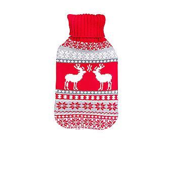Full Size Hot Water Fles met gebreide cover - Grijs / Rood kersthert / rendier