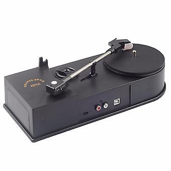Usb portátil Mini-vinilo tocadiscos giratorio de vinilo tocadiscos a MP3/wav/cd Converter Mini Phonograph Turntable Record (negro)