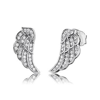 Angel Whisperer Angel Wing Sterling Silver Zirconia Rhodium Brincos ERE-LILWING-ZI-ST