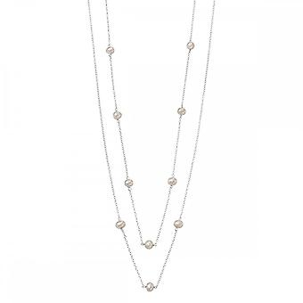 Beginnings Sterling Silver N4080W White Pearl Station 80cm Necklace