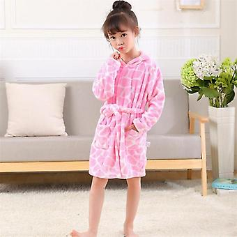 Kids Bathrobe Flannel Baby Hooded, Sleepwear - Night-robe Pajamas