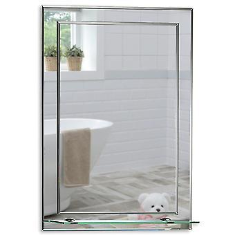 Rectangular Wall Mirror 50 x 40cm Shelf & Demister