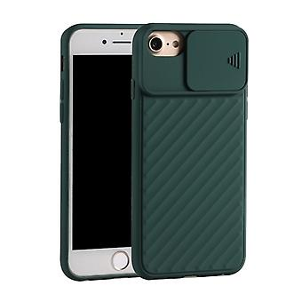 For iPhone 6 & 6s / 7 & 8 Sliding Camera Cover Design Twill Anti-Slip TPU Case(Green)