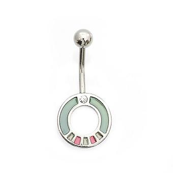 Belly button ring with round and cubic zirconia design 14g