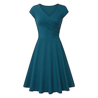 Syvä V kaula kiinteä väri, säiliö mekko yksinkertainen linja tyylikäs mekot