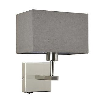 Italux Norte - Lampe de chevet moderne Nickel 1 Light with Grey, Rectangular Shade, E27